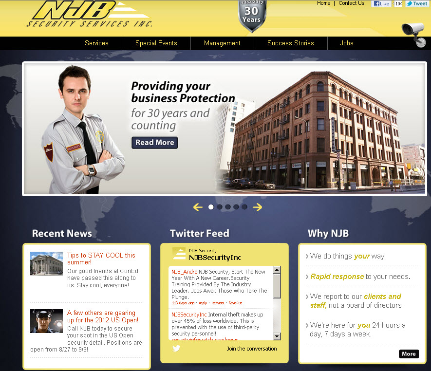 NJB-launch page shows clean, professional design