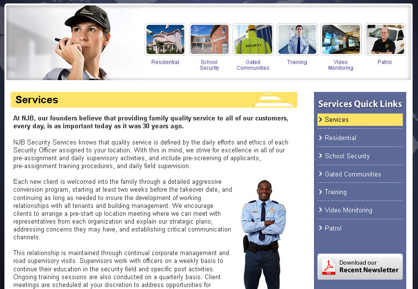 NJB new services page designed by Galaxy with new user-friendly right column navigation and custom color scheme