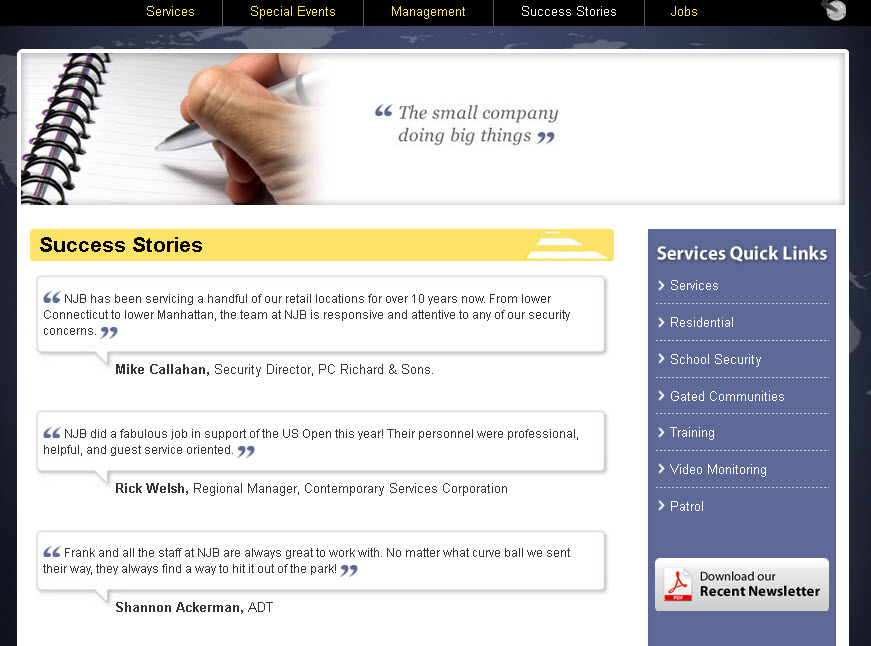 NJB new success story page designed by Galaxy to high-light client's success stories visually while optimizing for SEO