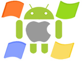 The logos of apple, android and microsoft