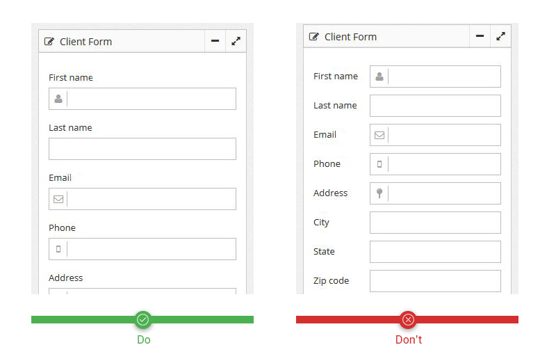 Align labels to the top of input field