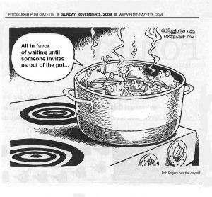 frogs boiling analogy for large organizations