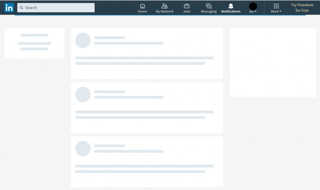A screenshot of a loading LinkedIn homescreen