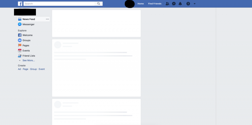 A Screenshot of of a loading Facebook homescreen