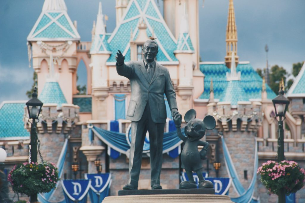 Statue of Walt Disney with Mickey Mouse in Disneyland