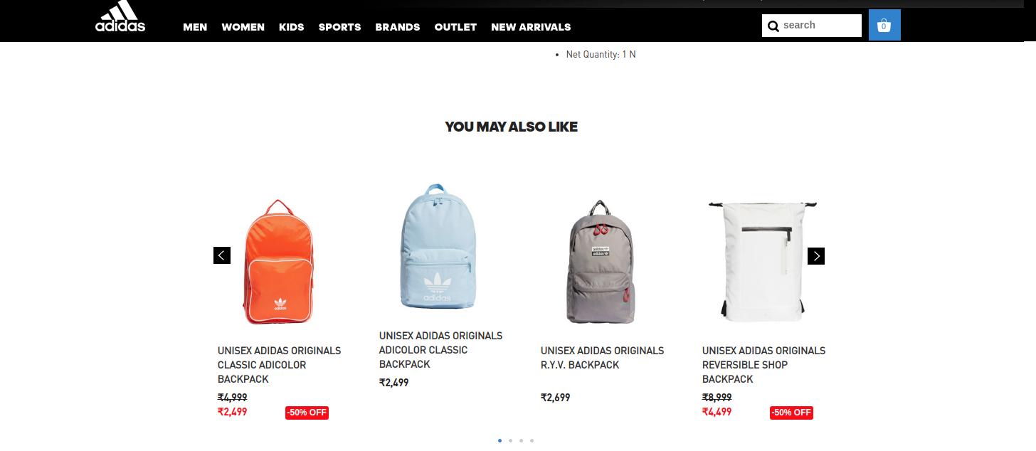 Adidas website screenshot of recently viewed items