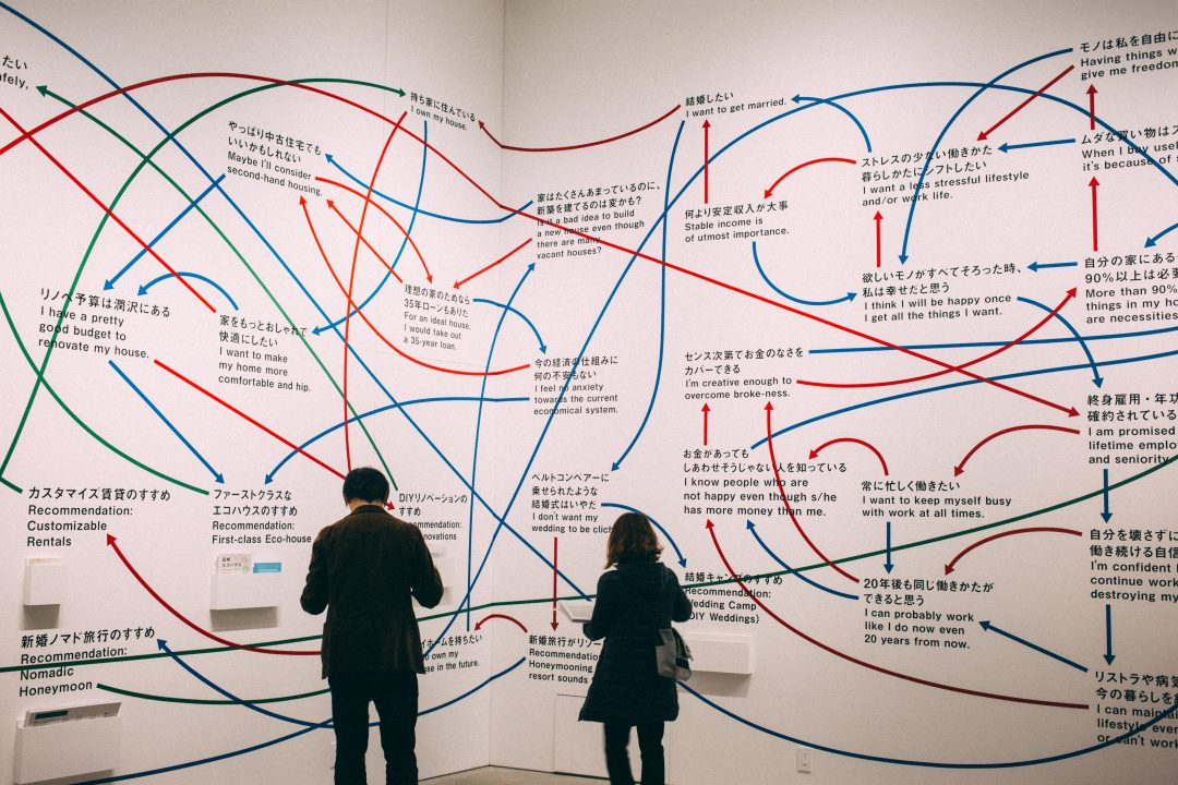 two people looking at a giant mind map
