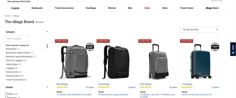 Screenshot of a ecommerce website