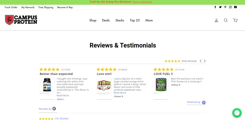 User review screenshot of an ecommerce website