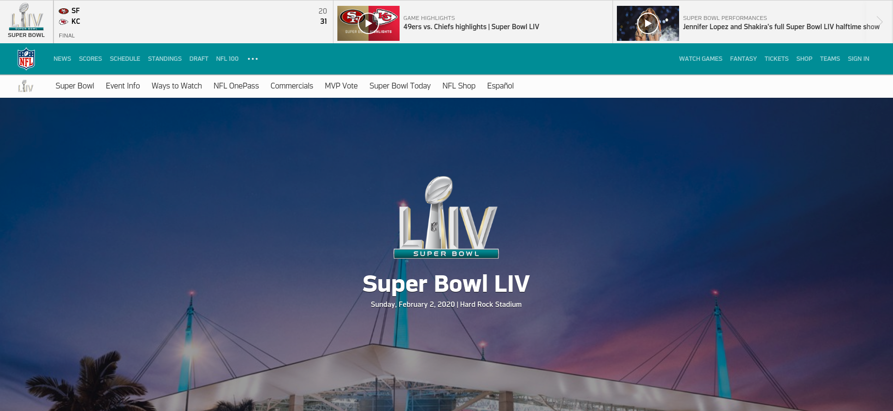 Screenshot of Super bowl website