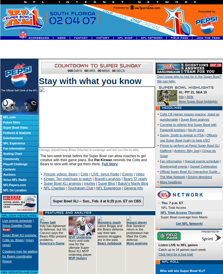 Screenshot of superbowl.com 2009