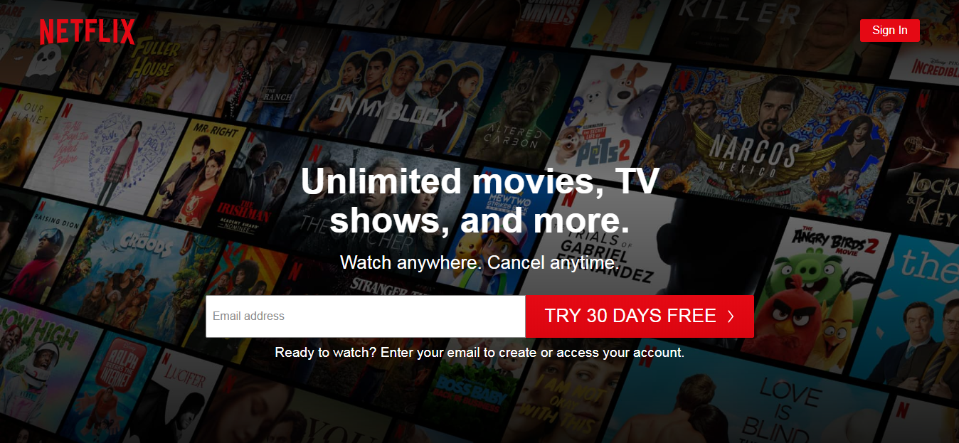Netflix sign up screen