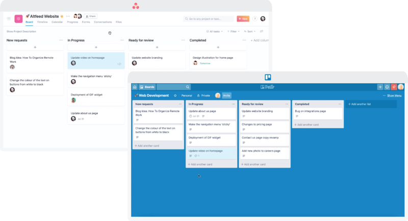 screengrab of trello and asana