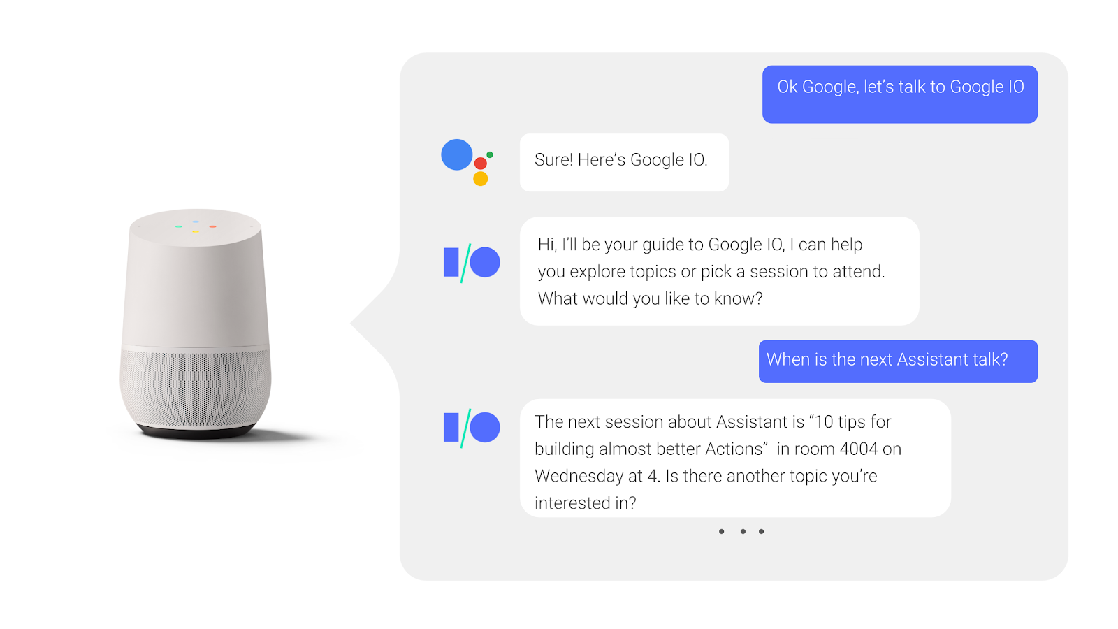 Image showcasing a conversation with google home smart speaker