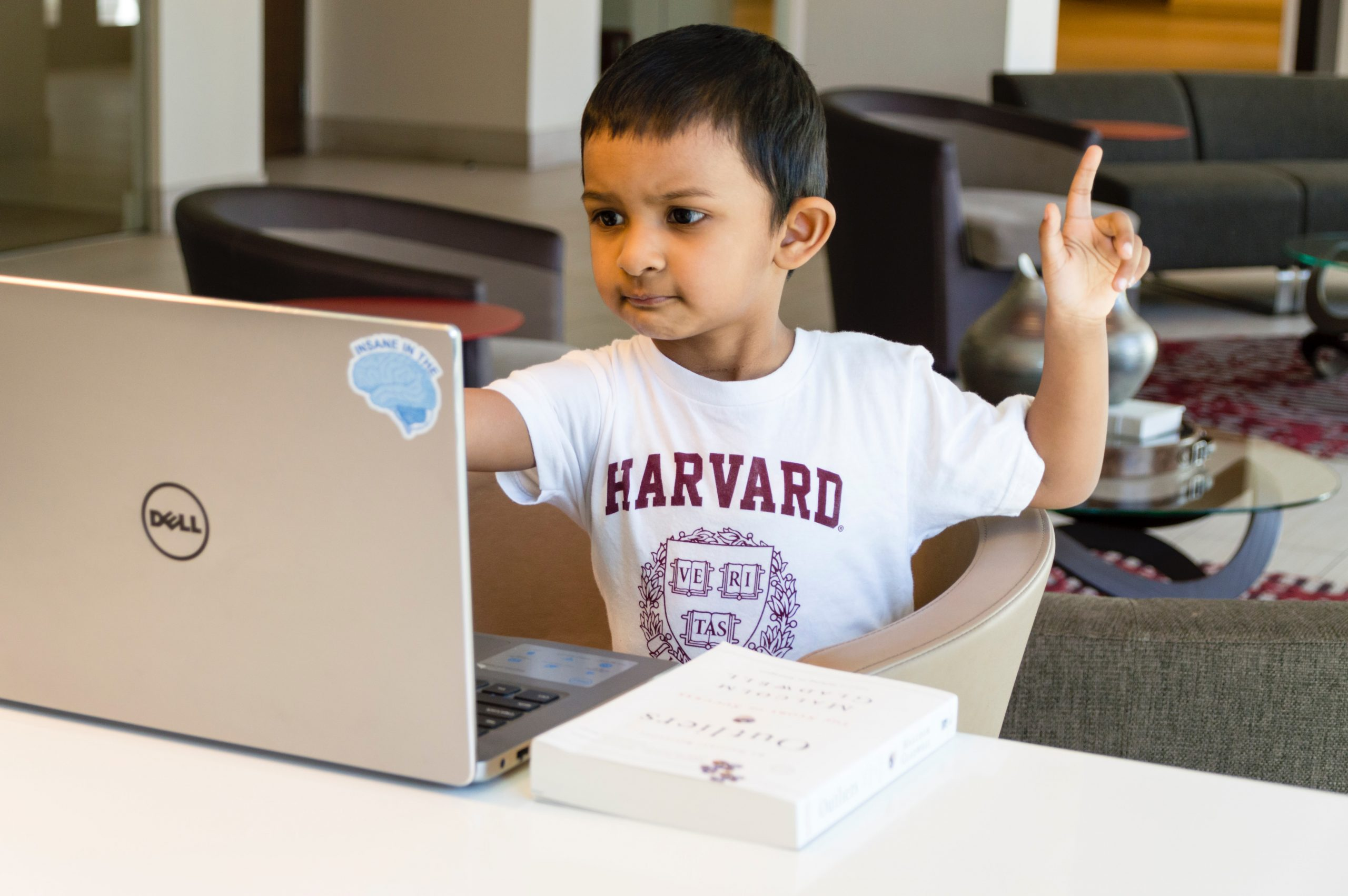A kid in front of a laptop raising his fingering