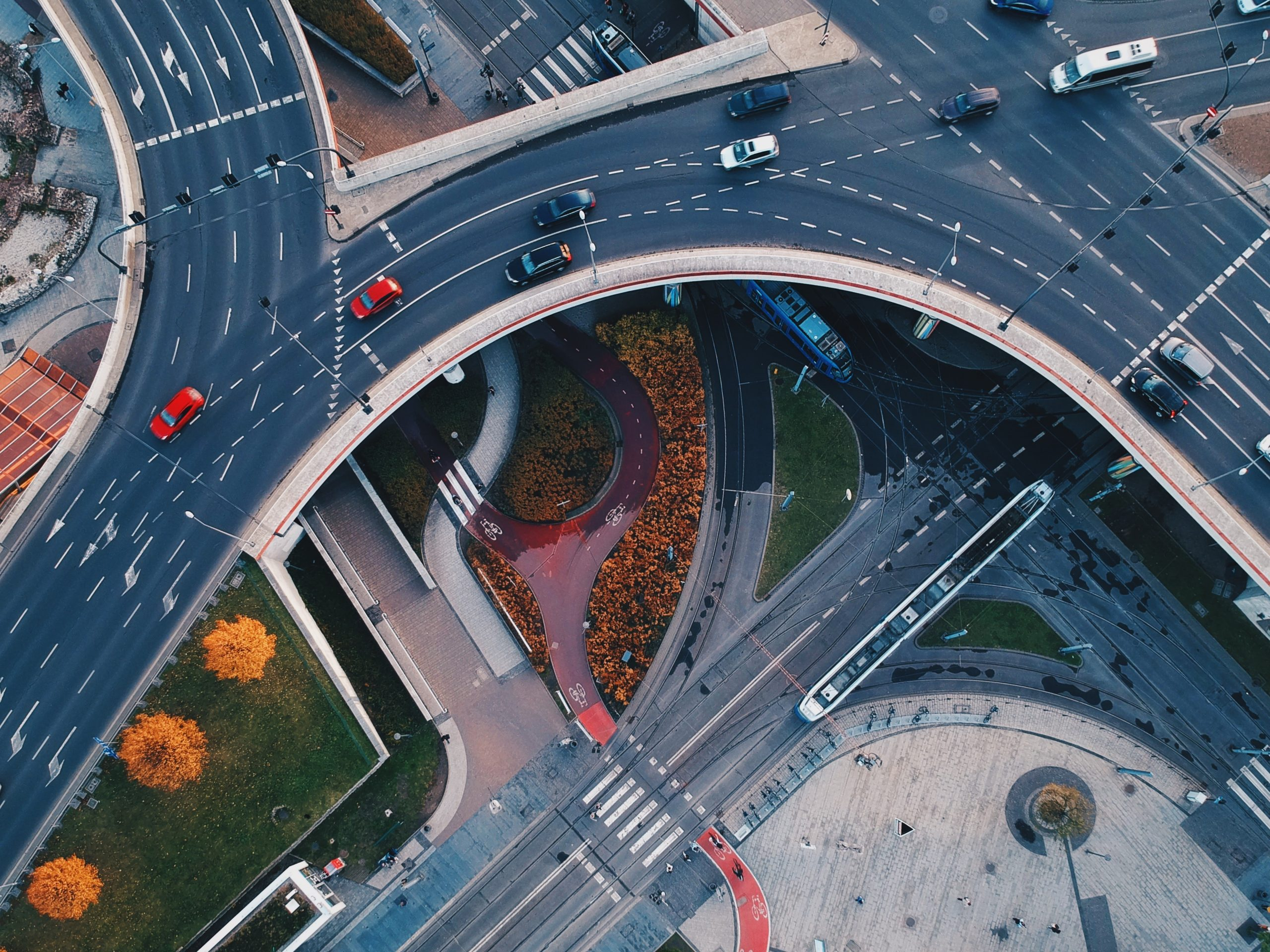 Aerial picture of cars on a fly-over