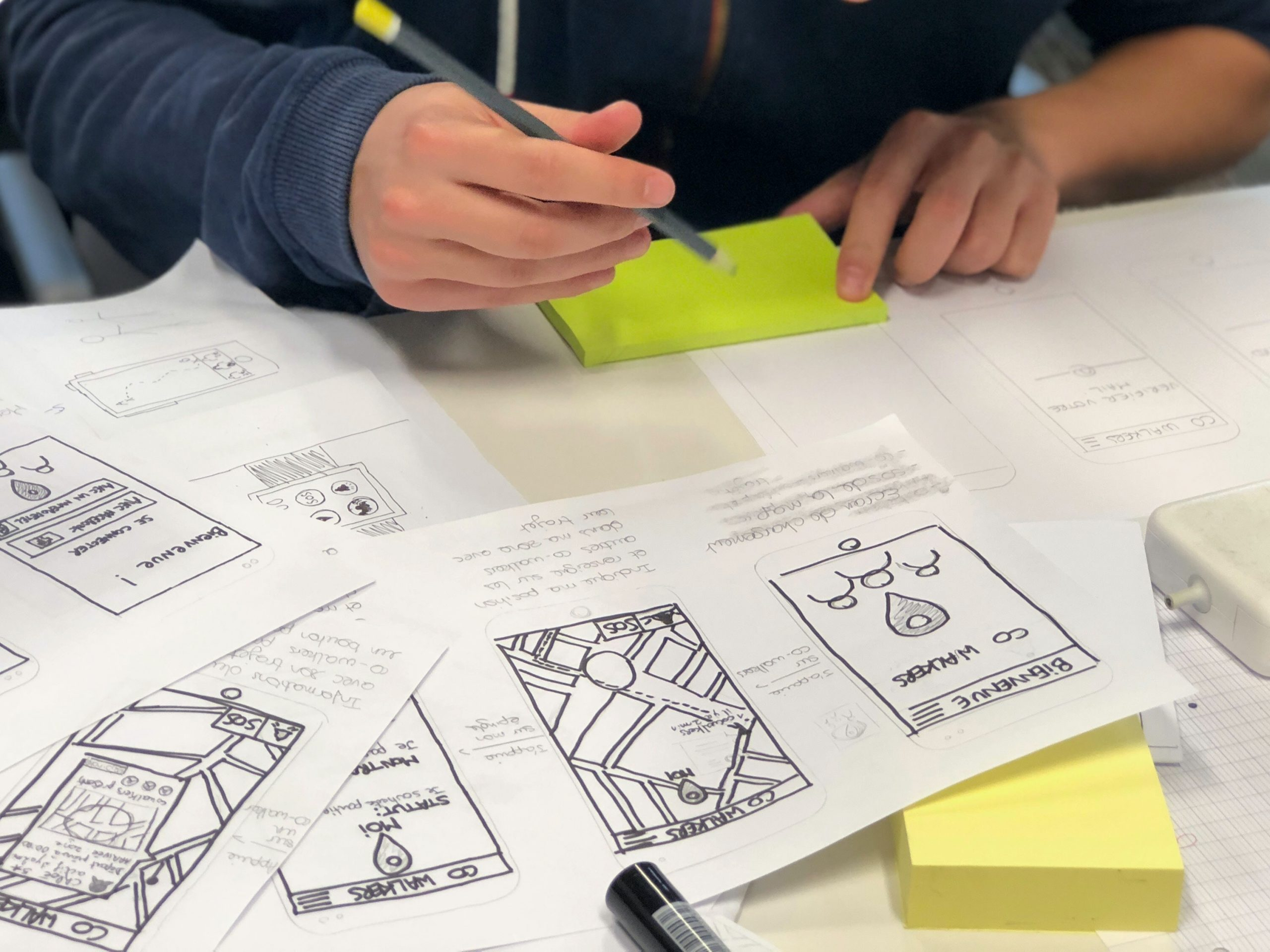 paper sketches of an app
