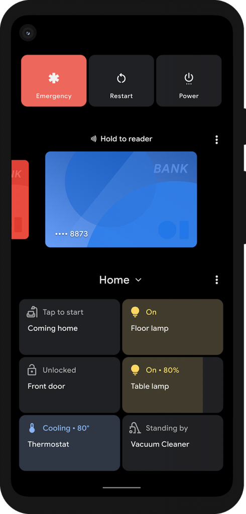Screenshot of Android 11 power button menu