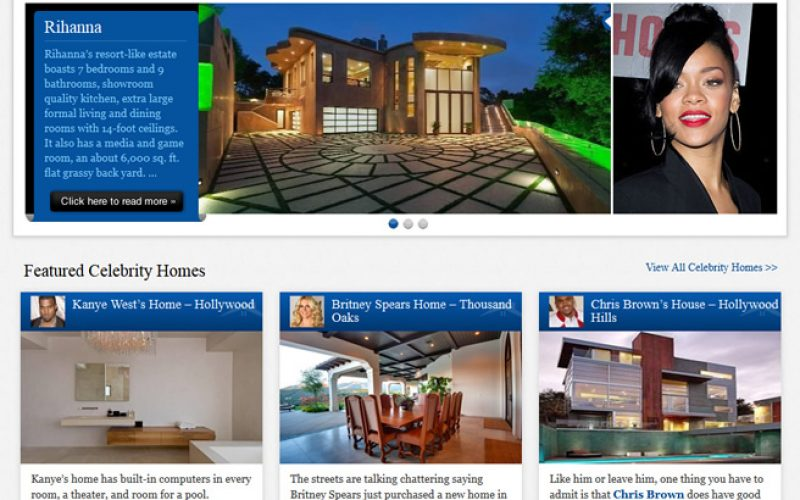 Celebrity homes website re-design with custom WordPress theme